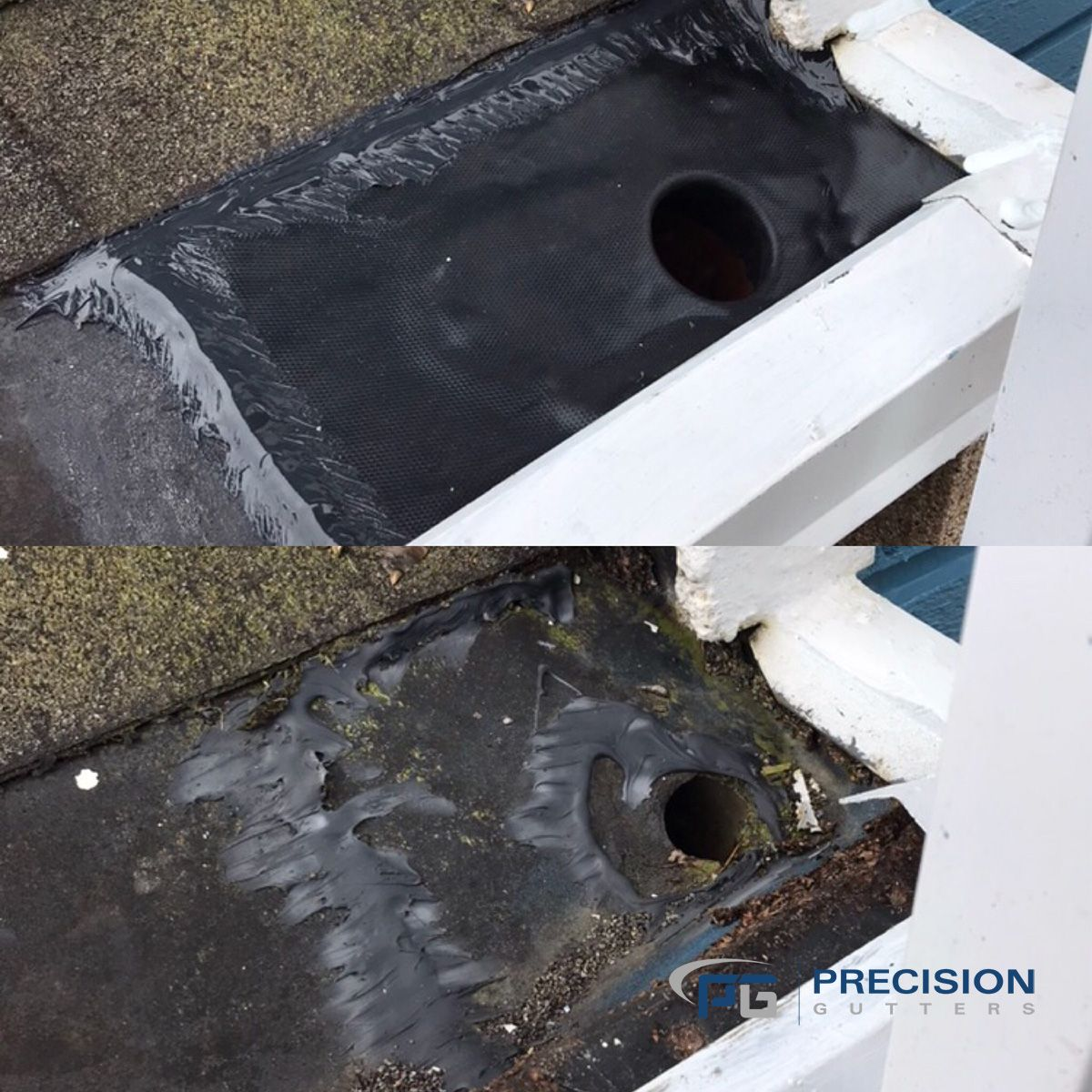 Built In Gutter Before And After Shots No More Leaking Gutters Gutter Repair Diy Gutters Gutters