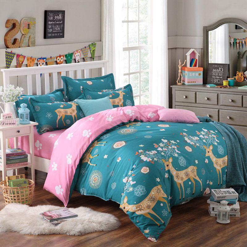 deer bedding set kawaii duvet cover for kids modern bed