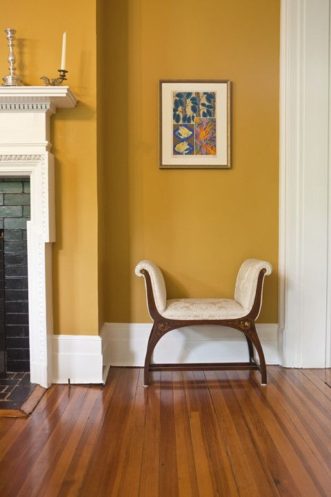 this is Anjou pear from Sherwin Williams.   Yellow walls ...