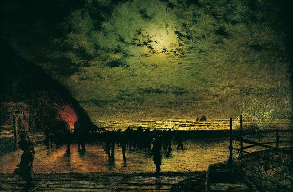 'Burning Off', a Fishing Boat at Scarborough - John Atkinson Grimshaw