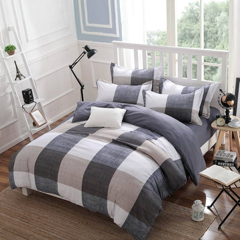 Cotton Bedding Sets Cover Bed Style Checkered Modern Fashion 3