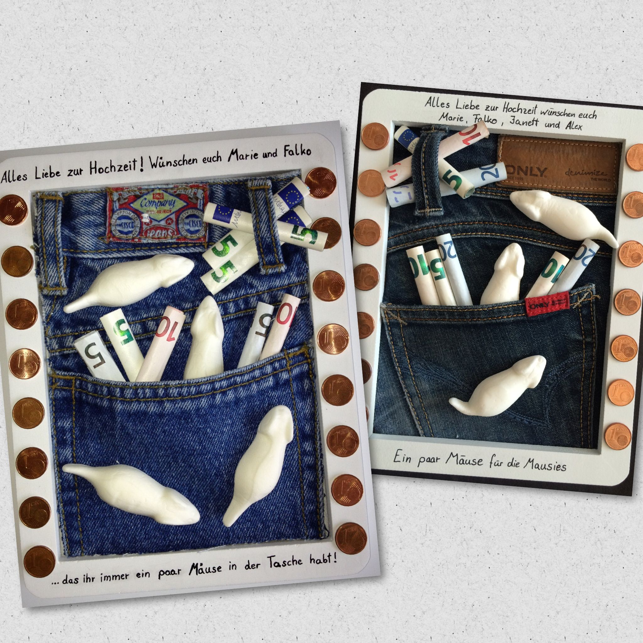 Geldgeschenk Mäuse In Der Tasche Jeans Bilderrahmen