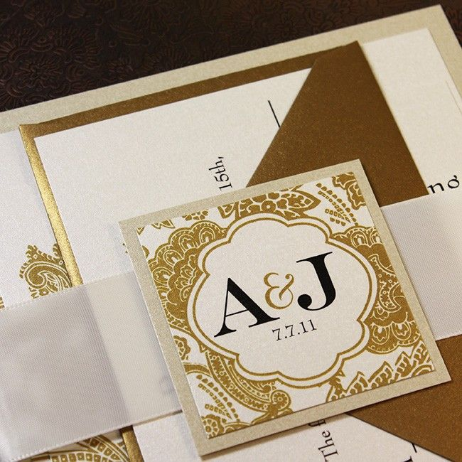 wedding invitation champagne gold wedding invitation bellevue wedding invitation suite ribbon belly band sample - Wedding Invitations Gold