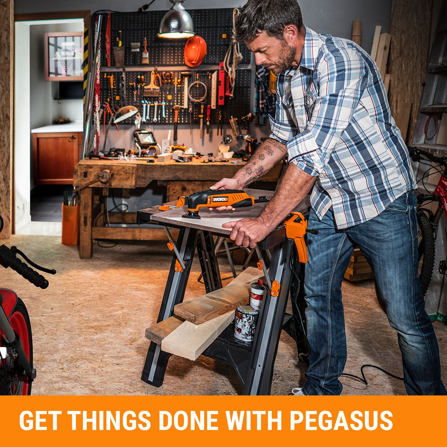 Worx Pegasus Multi Function Work Table And Sawhorse With Quick Clamps And Holding Pegs Plywood Sizes Home Depot Portable Workbench