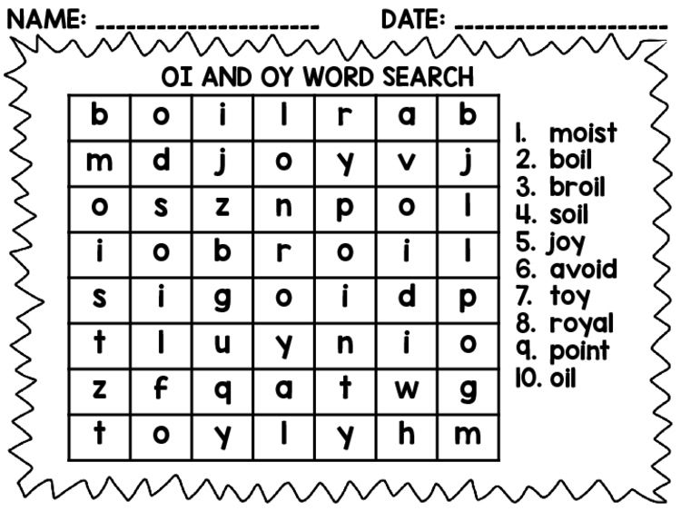 Oi And Oy Word Search By Adventures Of A Classroom Teacher Tpt Oy Words Oi And Oy Words Oi Words Oy oi worksheets