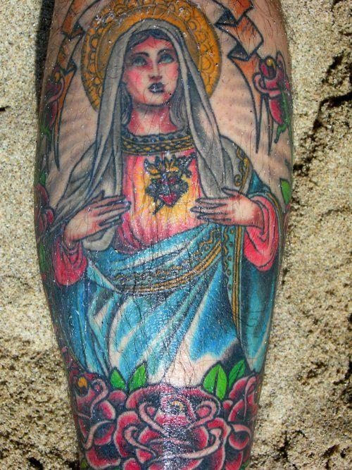 virgin mary tattoo, by Scott Sylvia, San Francisco