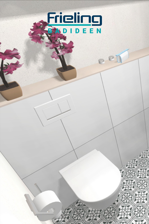 Schlichtes Wand Wc Mit Ablage Blumen Im Badezimmer Schlichte Eleganz Auf 3 Qm Vintage In 2020 Gaste Wc Wand Wc Bad Design
