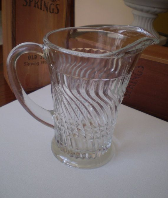 Clear Glass Pitcher with Great Swirl and Etched Design