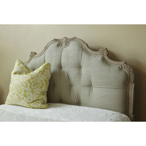 Floine Palace Upholstered Headboard With Carved Wooden Frame From Poshtots