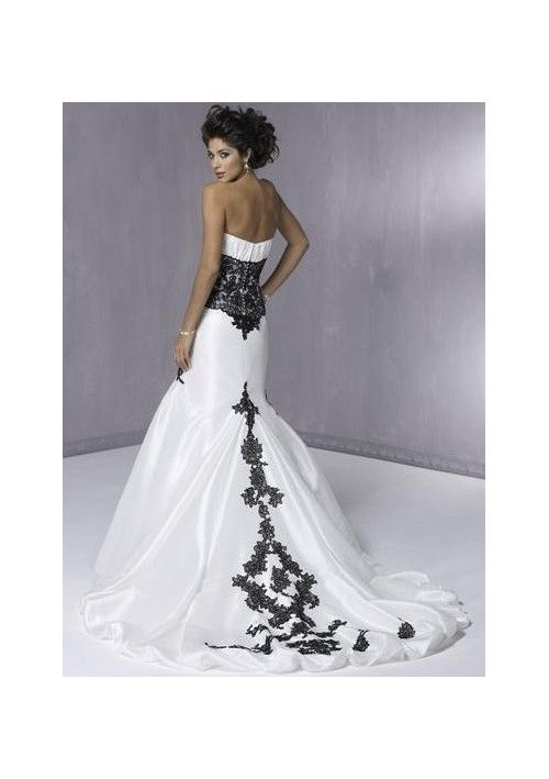 White And Black Mermaid Wedding Dresses