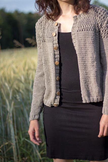 60c82d8a7e Grobstrickjacke aus recyceltem Baumwollgarn | stricken | Strickjacke selber  stricken, Stricken und Garn