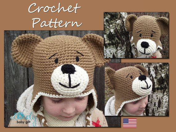 Crochet Earflap Hat Pattern Teddy Bear Hat Crochet Pattern Crochet