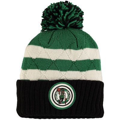 4dca28d46c3 Men s Mitchell   Ness Black Green Boston Celtics Quilted Stripe High 5 Cuffed  Knit Hat with Pom