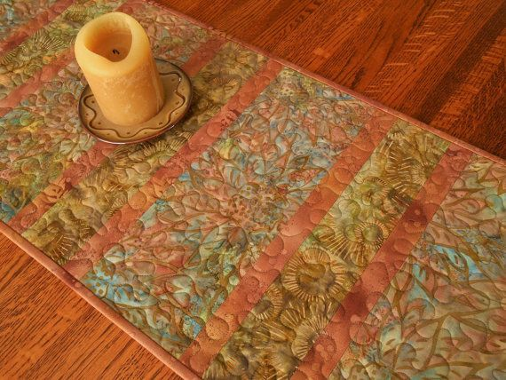 Quilted Batik Table Runner With Sunflowers In Rust Blue Brown And Green, Sunflower  Table Runner, Quilted Batik Table Mat, Quiltsy Handmade