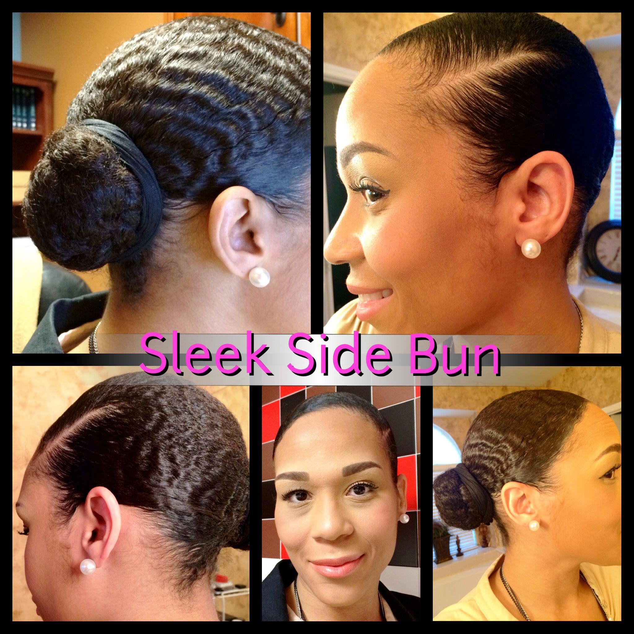 Protective Style Sleek Side Bun Natural Hair Styles Natural Hair Journey Curl Styles