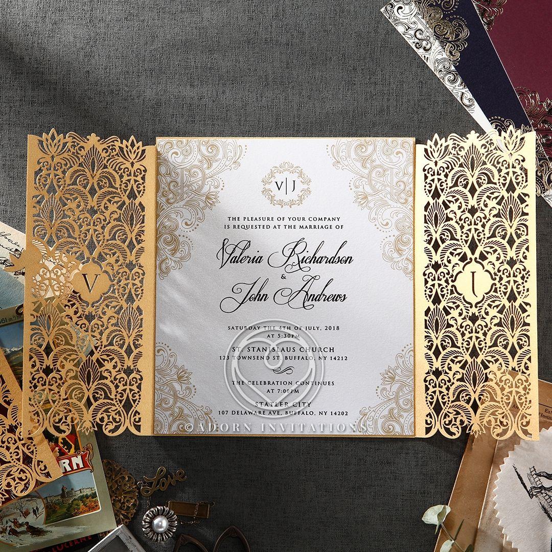 Gold Foil And Ivory Gatefold Wedding Invitation Laser Cut Elegant