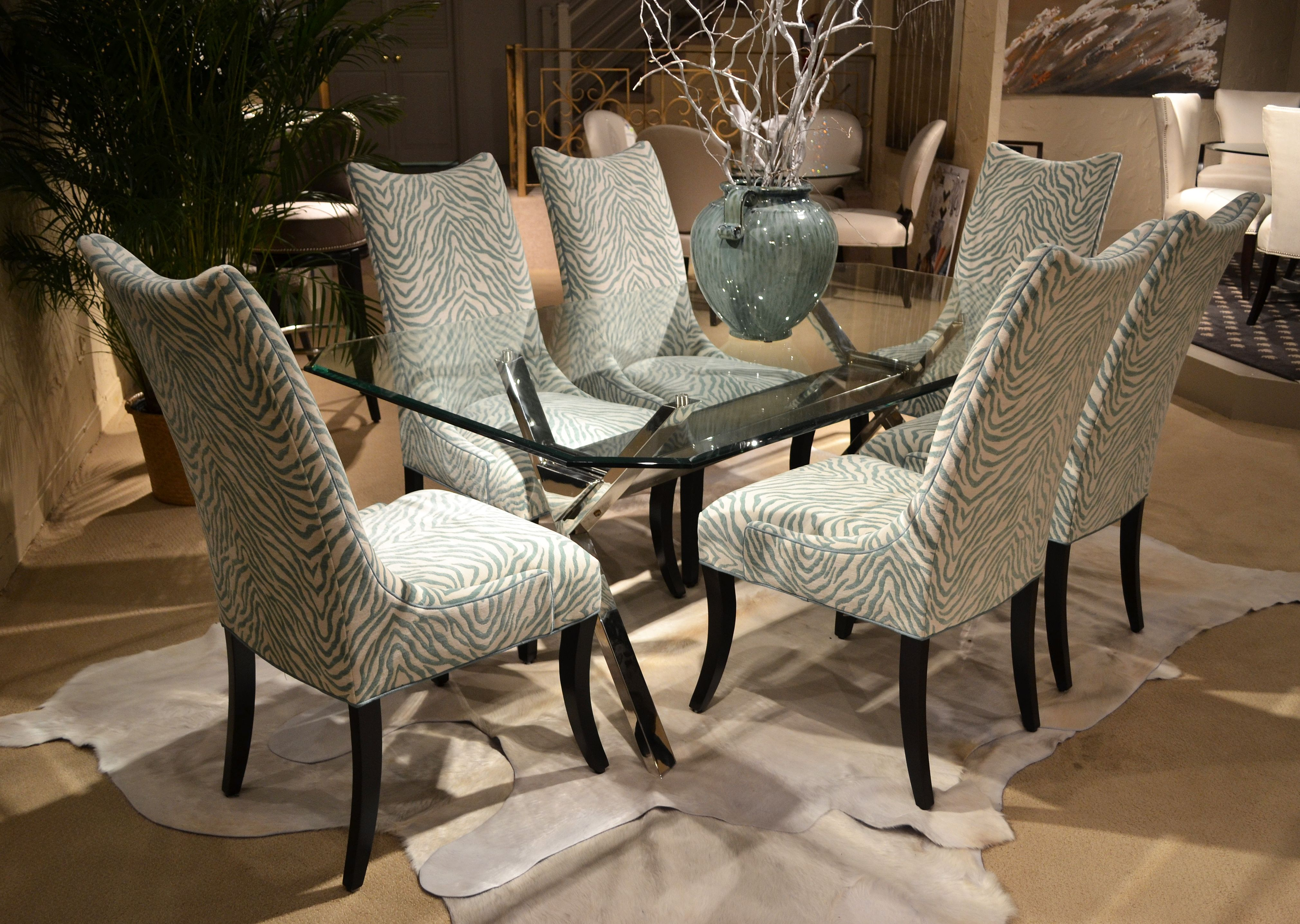 Dining chair set in turquoise and cream zebra teal