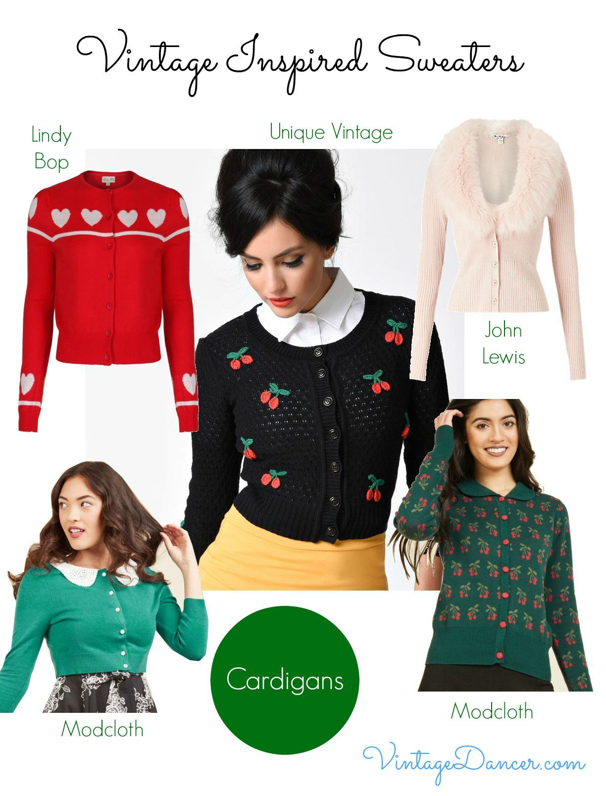 Vintage Style Sweaters, Cardigans and Jumpers