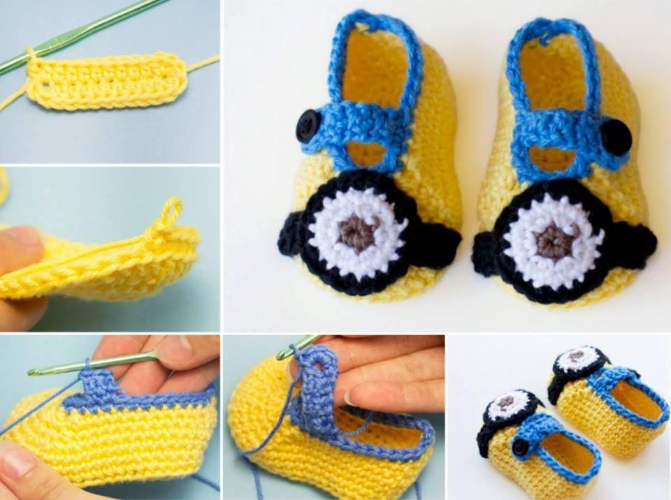 Minion Crochet Booties | crochet | Pinterest | Hausschuhe