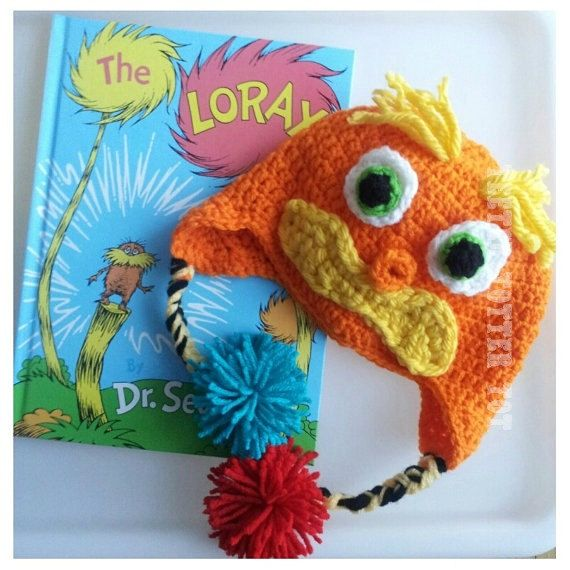 Dr Seuss Lorax Crochet Child Size Earflap Hat Yellow Mustache ...