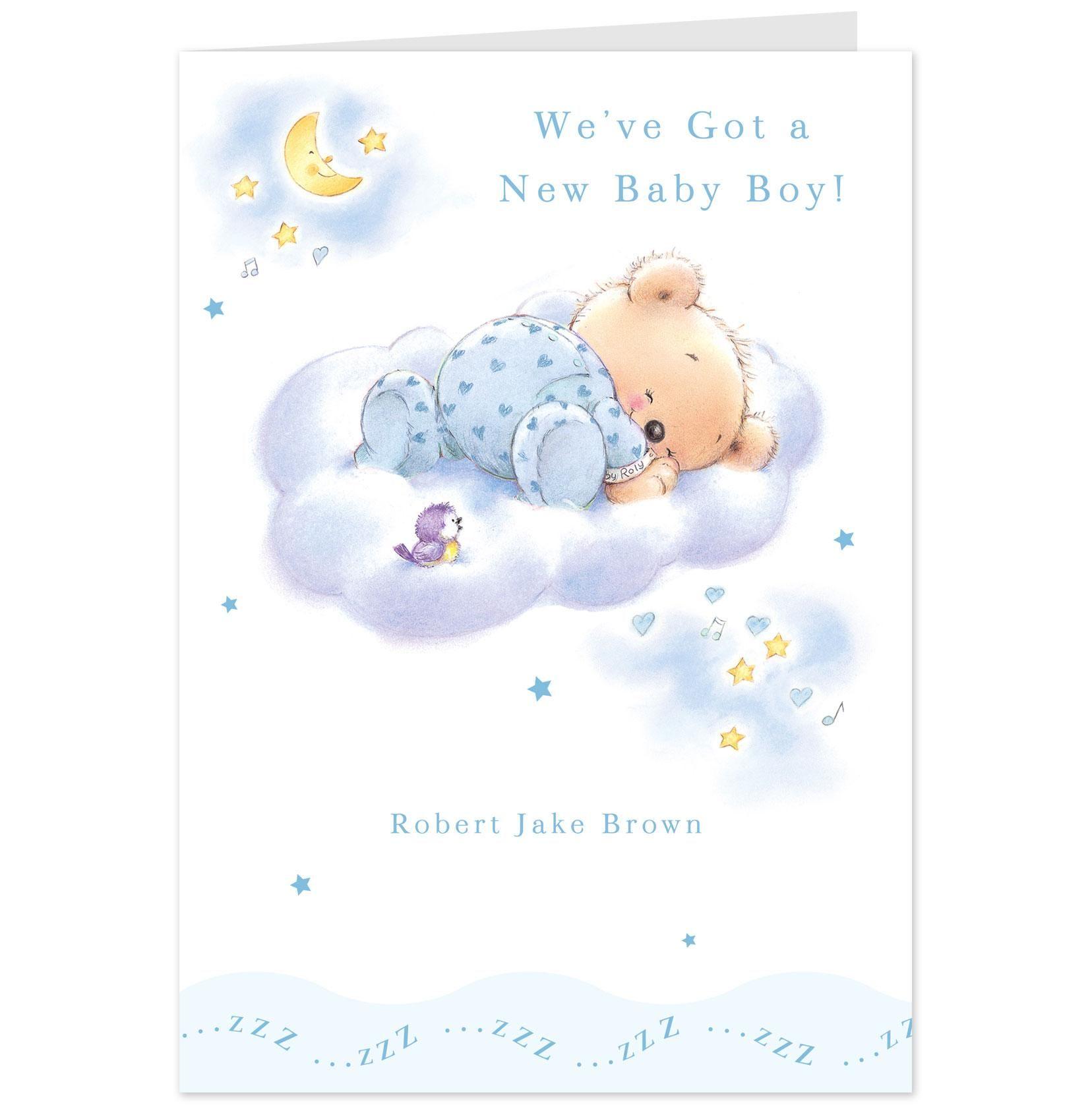 Shop boy announcement hallmark greeting cards and bears roly bear new baby boy announcement card hallmark uk kristyandbryce Gallery