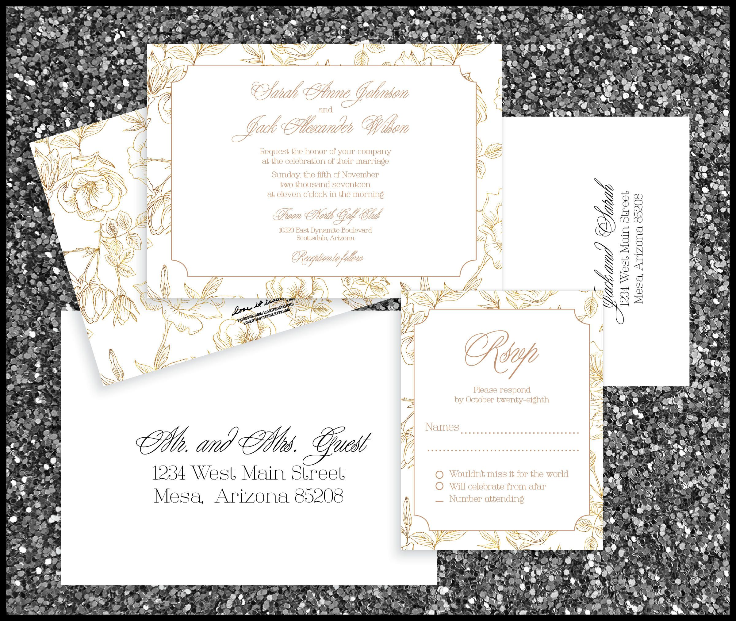 PRINTED Rose Gold Wedding Invitation Package, Rsvp w/ Envelopes ...