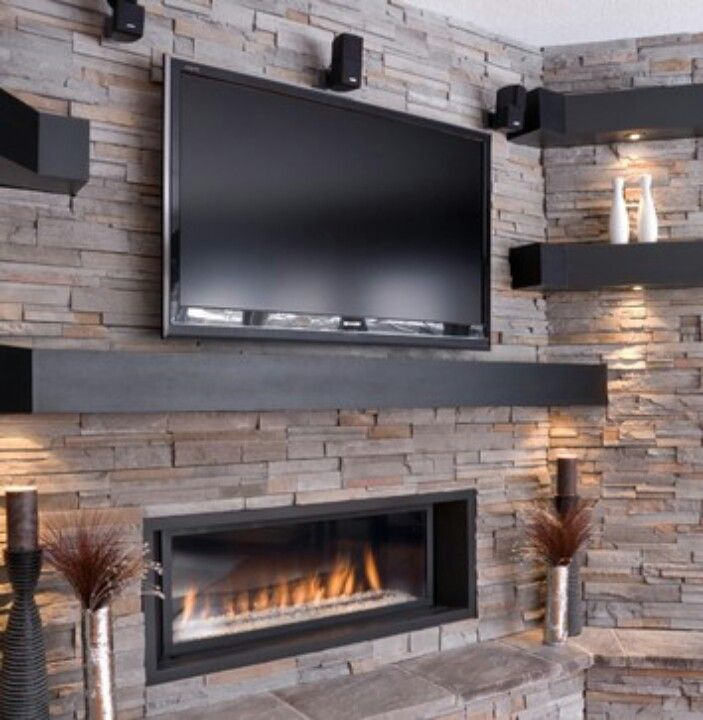 I don't like the stone but want the black mantel and shelving would be great and love that the fireplace is horizontal