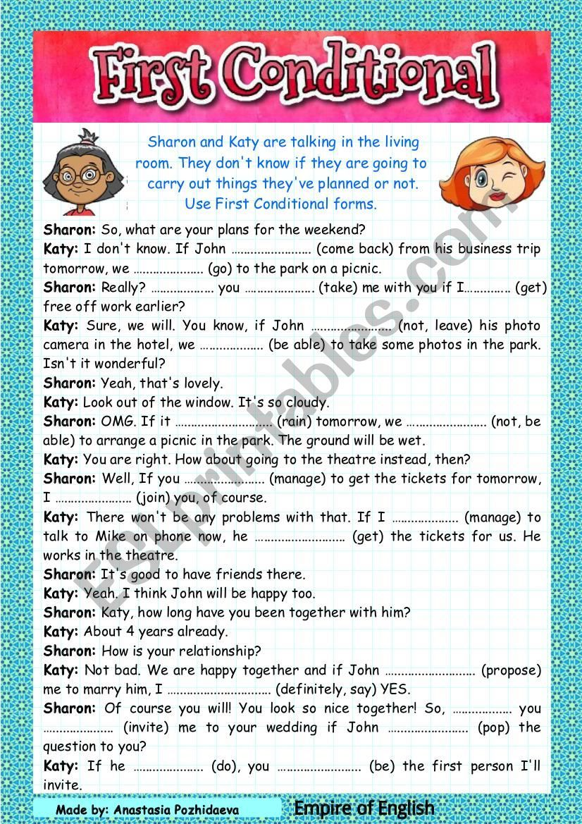 First Conditional Dialogue Video With Grammar Presentation Esl Worksheet By Empireofenglish In 2021 Worksheets Grammar Worksheets Grammar