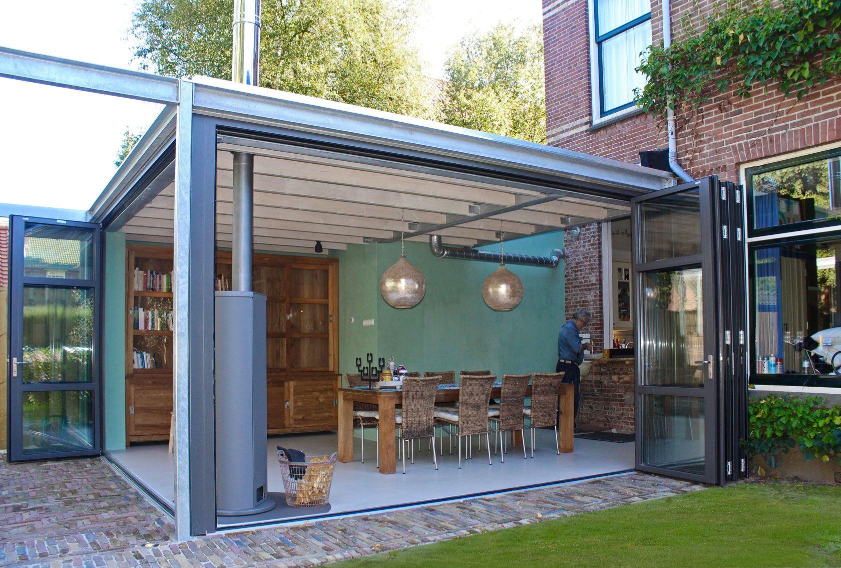 ontwerp aanbouw serre met industrial look stalen frame in het zicht exposed brick en. Black Bedroom Furniture Sets. Home Design Ideas