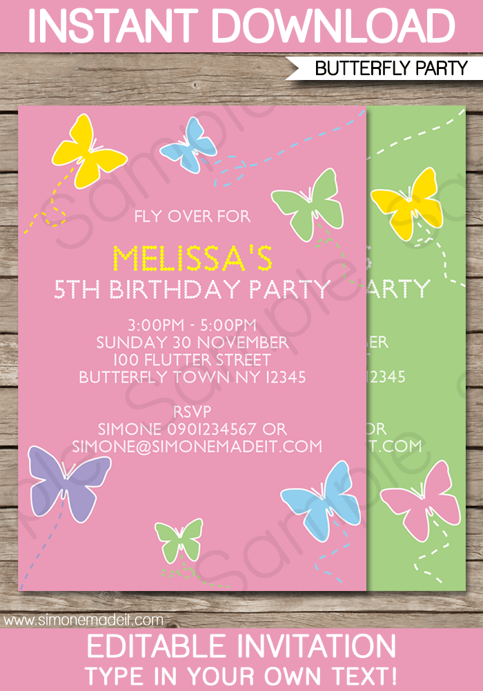 Butterfly Party Invitations Template Birthday Invitation