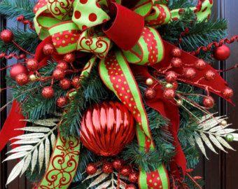 Christmas Wreath Holiday Wreath Christmas by AdorabellaWreaths