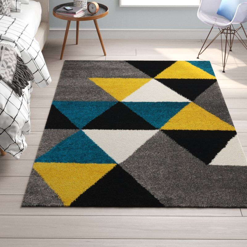 Baum Geometric Gray Teal Yellow Area Rug In 2020 Yellow Area Rugs Yellow Grey Rug Blue And Yellow Living Room