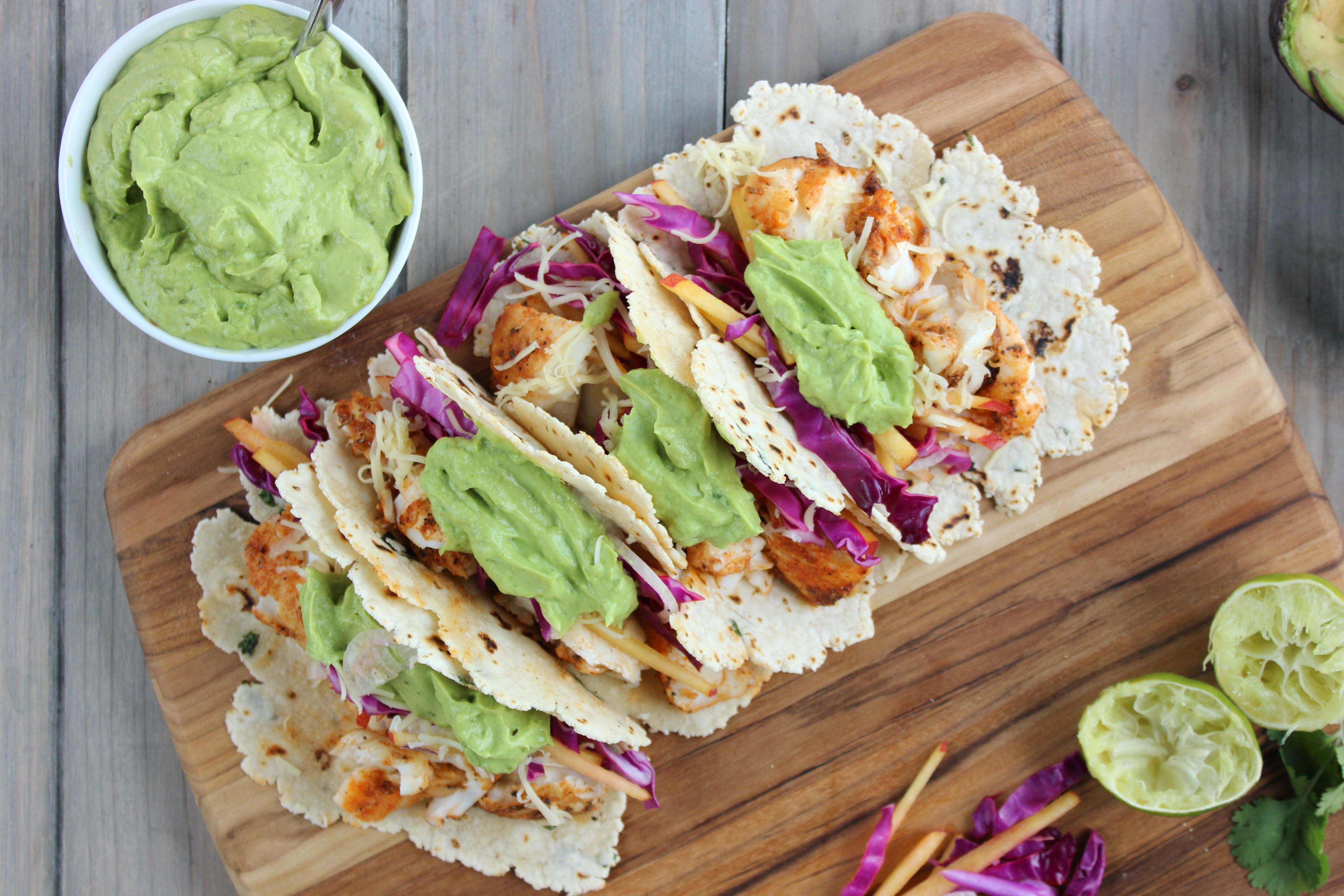 Baja Fish Tacos with Cilantro Lime Tortillas made with @ottosnaturals Cassava Flour | Beautifully Paleo