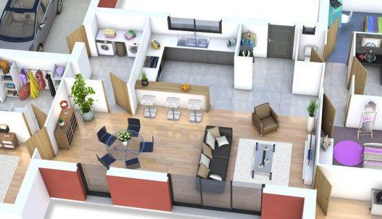 plan maison 3D - maison moderne Mahé modele maison Pinterest - plan de maison moderne 3d
