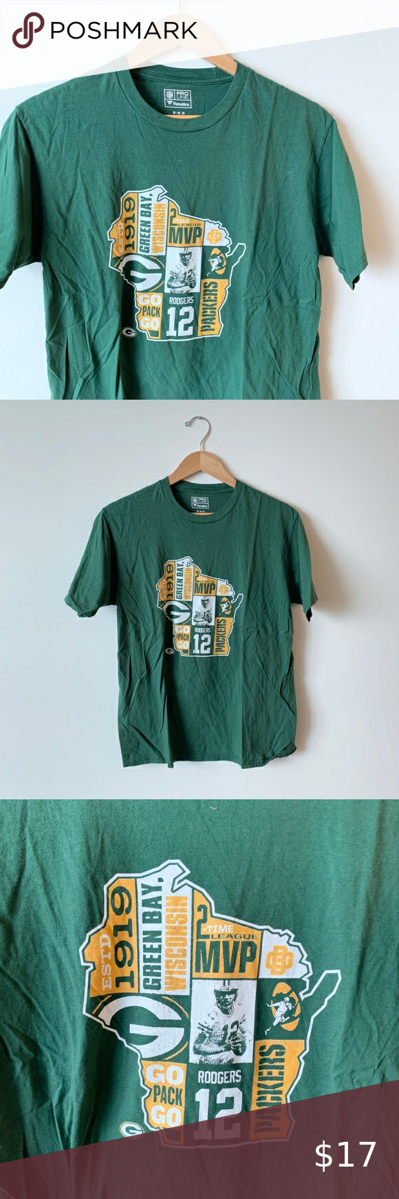 Nfl Packers Aaron Rodgers T Shirt Green Gold In 2020 Aaron Rodgers Nfl Packers Nfl Green Bay