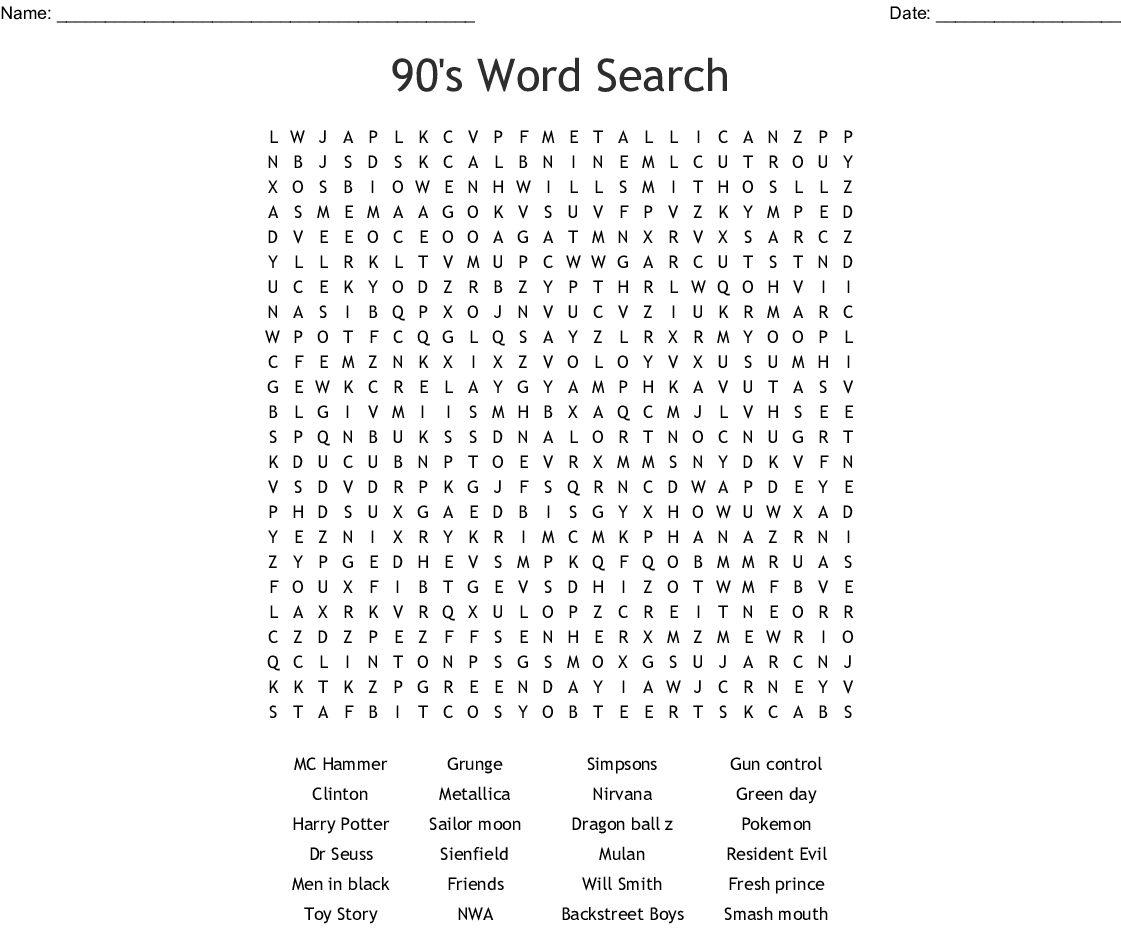 90s Crossword Puzzle Printable