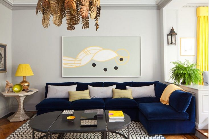 Amanda Nisbet Navy Blue Velvet Sofas Blue Sofas Living Room Yellow Living Room Blue Living Room #navy #blue #sectional #living #room