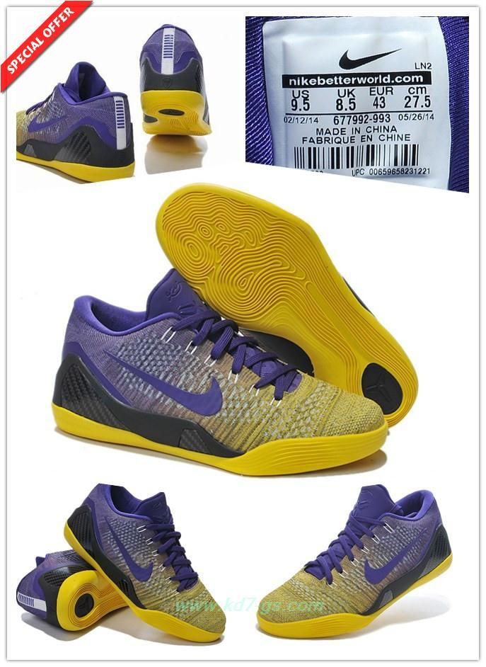 Buy Cheap Mens 677992 993 Nike Kobe 9 Elite Bleu / Jaune