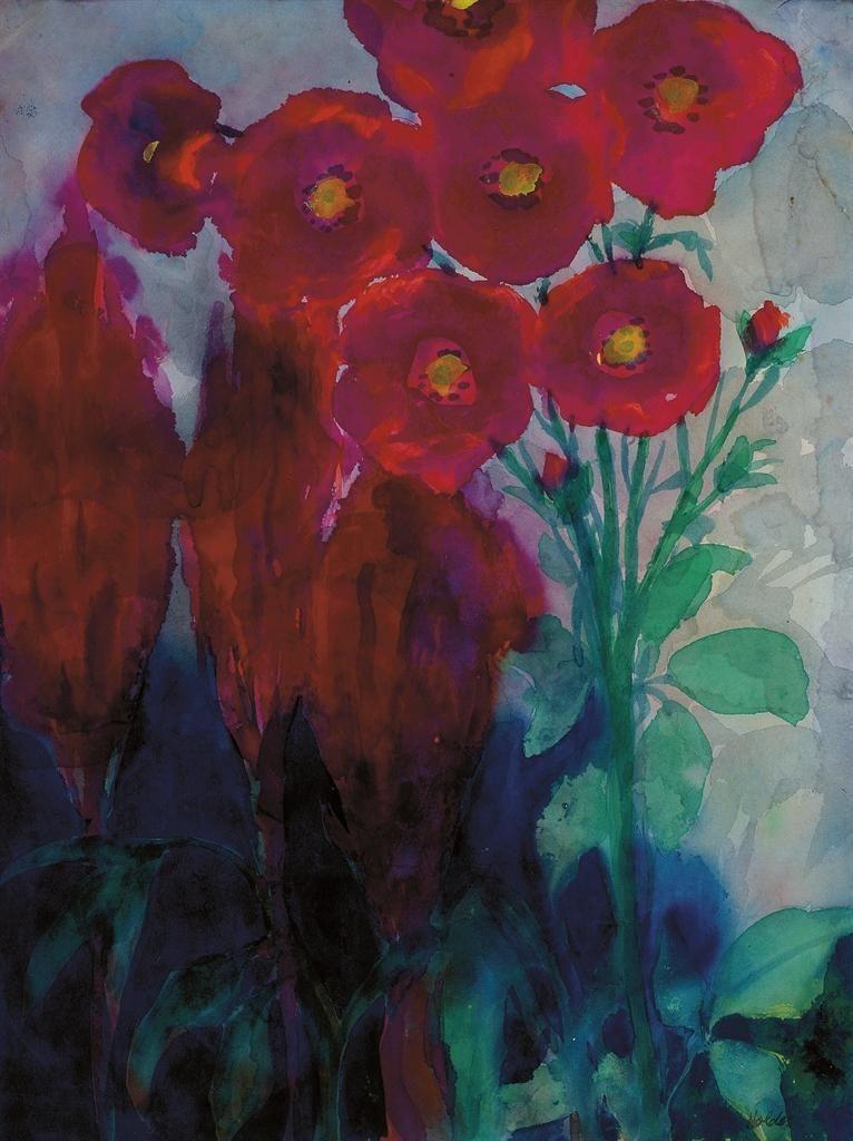 Emil Nolde 1867 1956 Mohnblumen 46 5 X 35 Cm Emil Nolde Akvarel Zhivopis