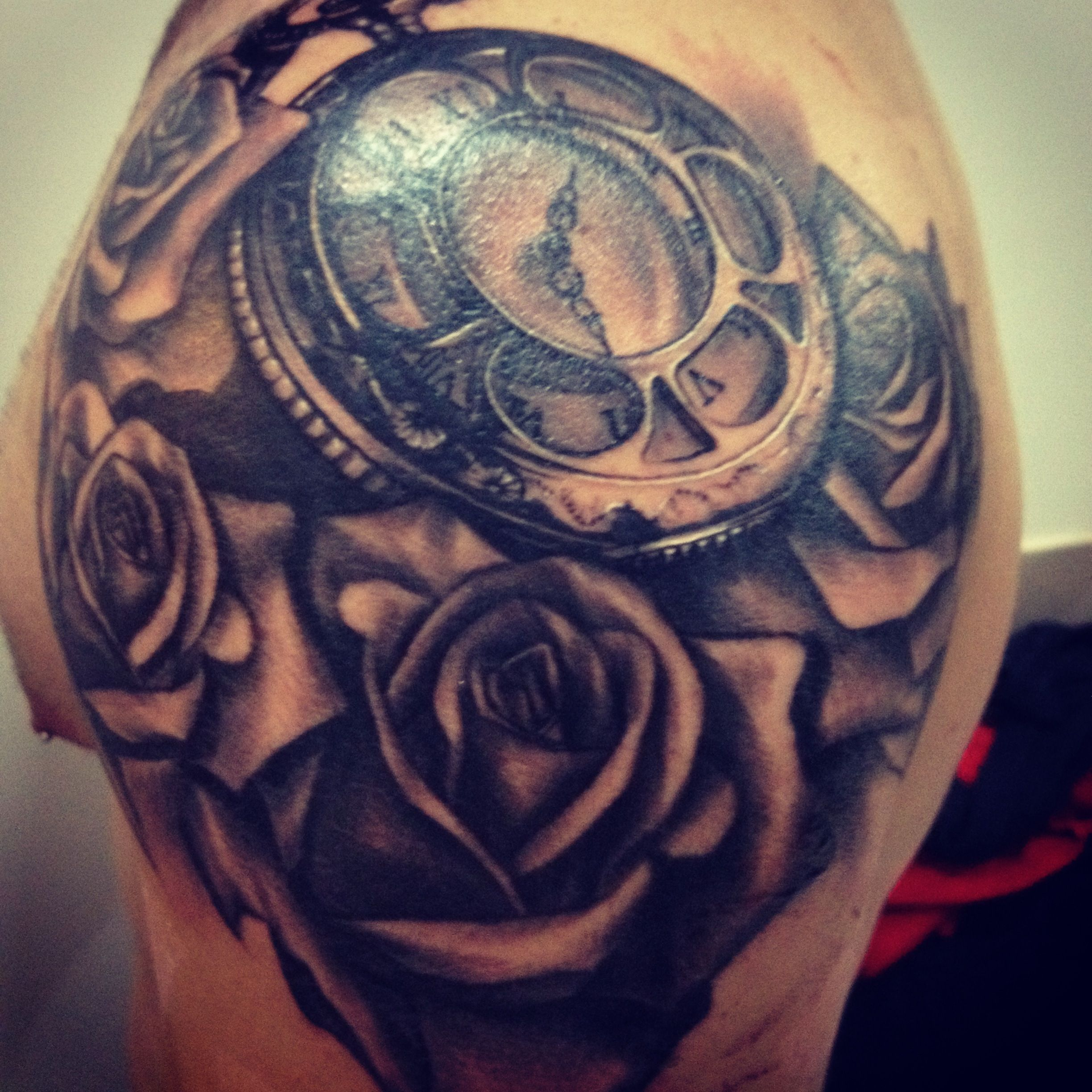 Clock And Roses Tattoo: Deep And Dark Shoulder Piece. This May Be