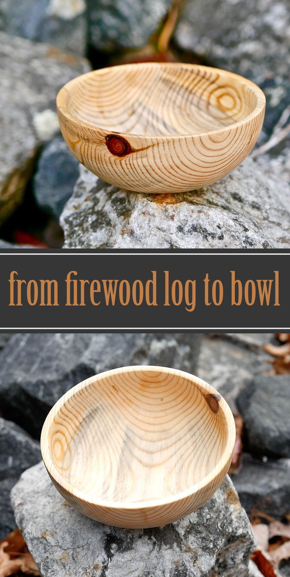 Wood turning project from firewood log easy for beginners