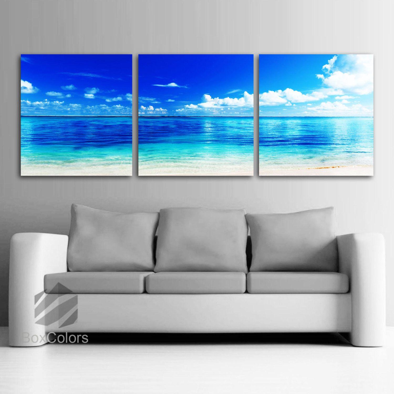 Large 20 X 60 3 Panels Art Canvas Print Beach Ocean Wall Decor Ocean Wall Decor Canvas Art Prints Panel Art