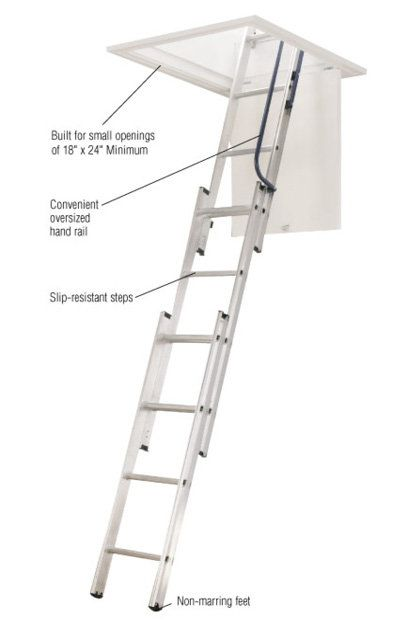 werner 7 ft 9 ft 18 in x 24 in compact aluminum attic ladder with 250 lb maximum load capacity aa1510b the home depot - Werner Attic Stairs