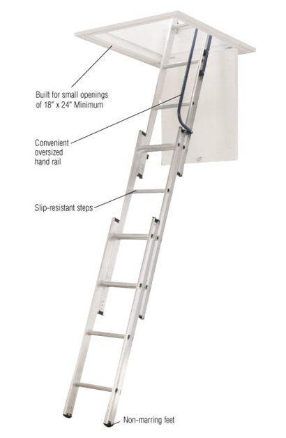 Compact Aluminum Attic Ladder With 250 Lb Maximum Load Capacity