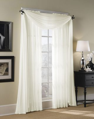 Gentil Bedroom Curtains  Hampton Sheer Voile Scarf Valance