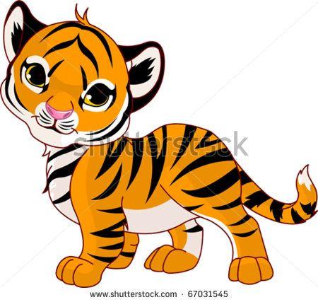 Image Of Walking Cute Baby Tiger Stock Vector Cartoon Baby