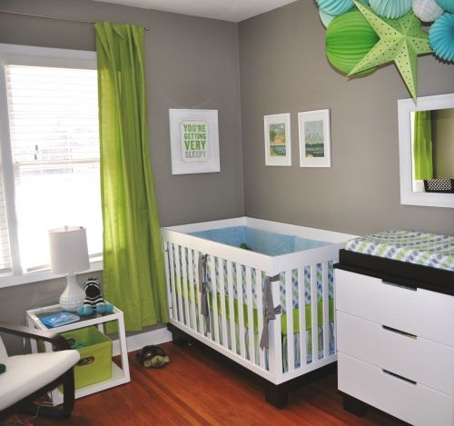 Love This Nursery Lime Green Aqua Blue And Gray So Modern