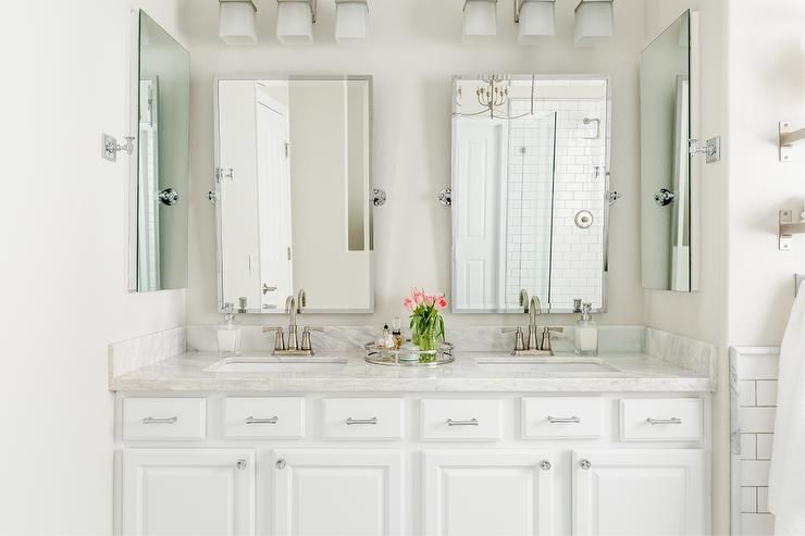White Double Washstand With Pottery Barn Kensington Mirrors Transitional Bathroom Behr Silver Pottery Barn Bathroom Barn Bathroom Bathroom Mirror Lights