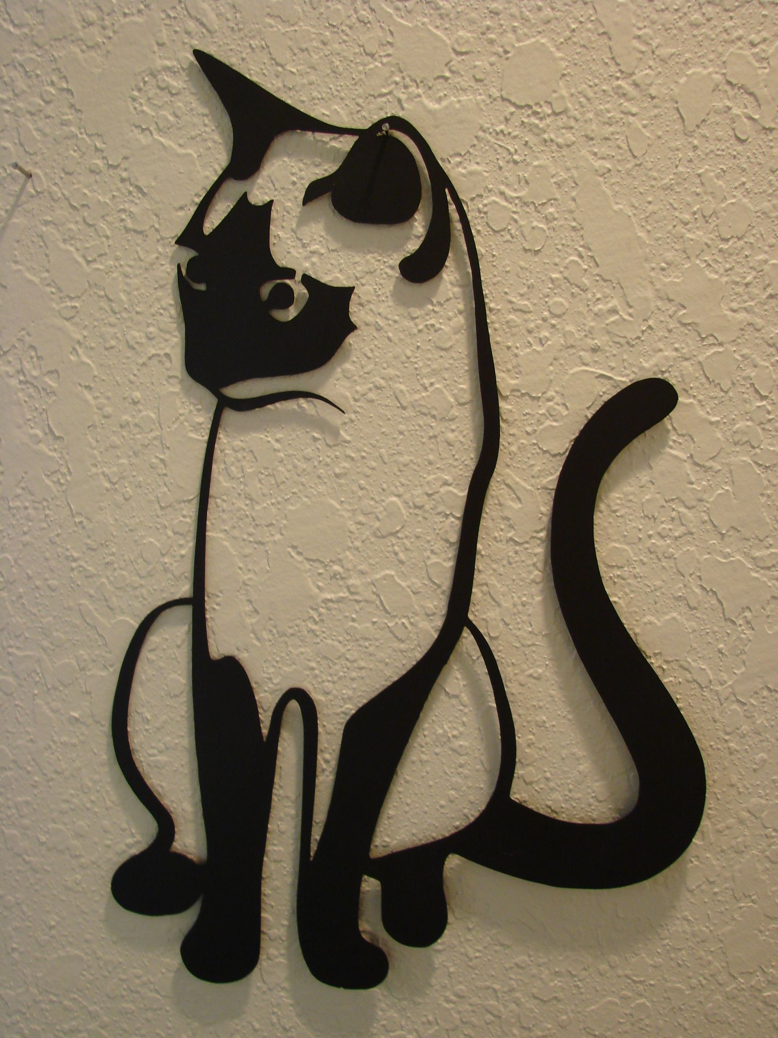 Tall Metal Wall Art 16 Gauge Plasma Cut Kitty Cat Metal Wall Art   Plasma Torch Cnc