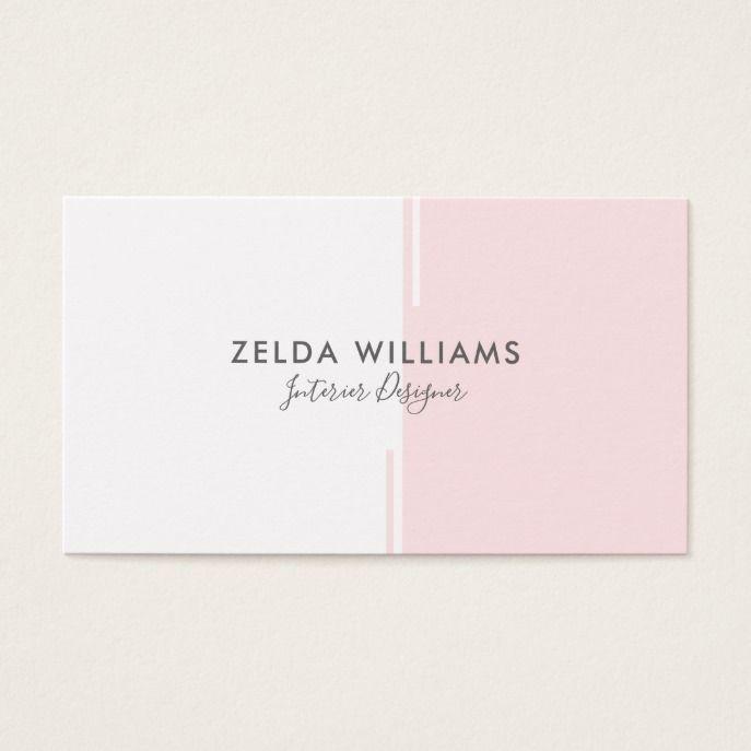 Minimalistic Geometric Pink & White Lines & Shapes Business Card | Zazzle.com